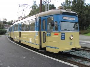 Vogn 22 på Ugla stasjon, hvor vognsettet er på vei ned til Munkvoll etter endt oppdrag
